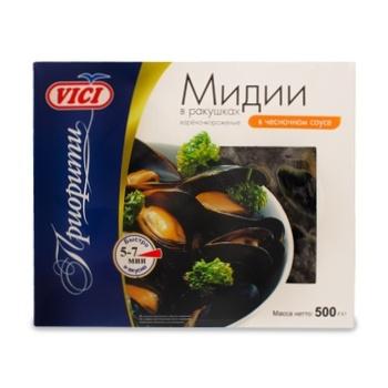 Мидии Vici в ракушках варено-мороженые в чесночном соусе 500г - купить, цены на Ашан - фото 1