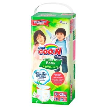 Підгузники-трусики GOO.N Cheerful Baby розмір XXL унісекс для дітей 15-25кг 34шт - купити, ціни на Ашан - фото 1