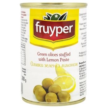Оливки Fruyper зеленые с лимоном 300мл