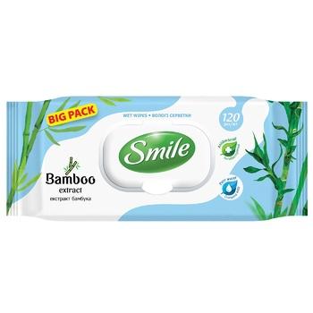 Салфетки влажные Smile экстракт бамбука 120шт