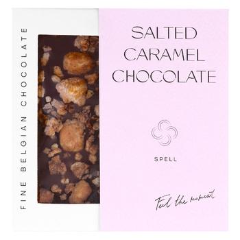 Шоколад Spell молочный с соленой карамелью карамелизированным хлопьями и фундуком 100г