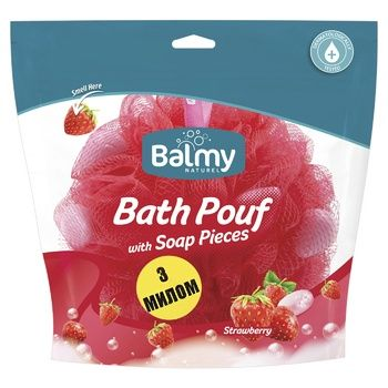 Мочалка с кусочками мыла Balmy Naturel Клубника - купить, цены на МегаМаркет - фото 1