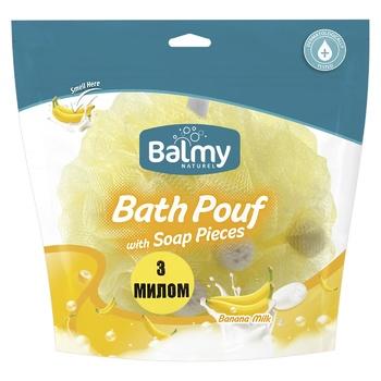 Мочалка с кусочками мыла Balmy Naturel Банановое молоко - купить, цены на МегаМаркет - фото 1