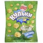 Фигурные изделия Выгода кукурузные соленые со вкусом сметаны с зеленью 45г