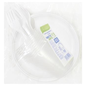 Набор одноразовой посуды Чистая ВыгоДА! вилка, тарелка, стакан 10шт