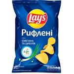 Чипсы Lay's картофельные со вкусом сметаны и лука рифленые 133г