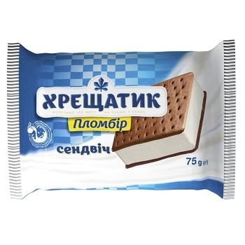Мороженое пломбир Крещатик на печенье с какао 75г - купить, цены на МегаМаркет - фото 1