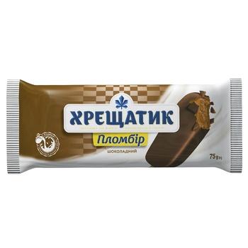 Мороженое Хрещатик пломбир шоколадный в кондитерской глазури 75г - купить, цены на СитиМаркет - фото 1