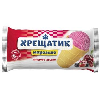 Мороженое Хрещатик плодово-ягодное в вафельном стакане 80г - купить, цены на Фуршет - фото 1