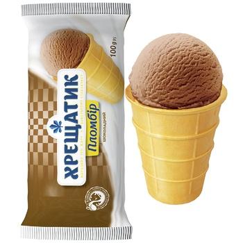 Мороженое Хрещатик пломбир шоколадный в вафельном стаканчике 100г - купить, цены на Фуршет - фото 2