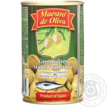 Оливки зеленые Maestro de Oliva с тунцом 300мл - купить, цены на Novus - фото 1