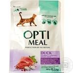 Корм повнораціонний сухий для дорослих котів з ефектом виведення шерсті- качка Optimeal 0,3 кг