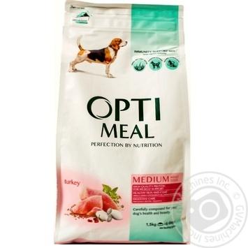 Корм повнораціонний сухий для дорослих собак середніх порід - індичка Optimeal 1,5 кг