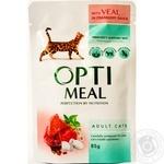 Корм Optimeal для взрослых кошек с телятиной в клюквенным соусом 85г
