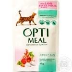 Корм Optimeal для взрослых кошек с ягненком и овощами в желе 85г