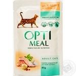 Корм Optimeal для взрослых кошек с кроликом в белом соусе 85г