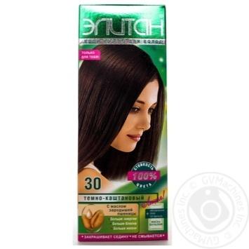 Крем-фарба для волосся Елітан 100 №30 Темно-каштановий