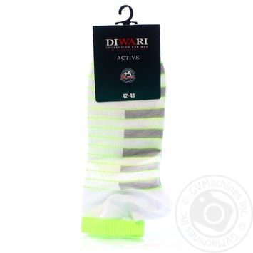 Шкарпетки чол. ACTIVE (короткі). р.27. 067 білий-салатовий