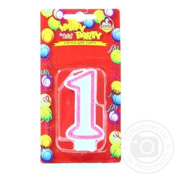Свічка для торту Помічниця Веселе свято Цифра один - купити, ціни на Метро - фото 3