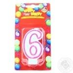 Свеча для торта Помощница Веселый праздник Цифра шесть