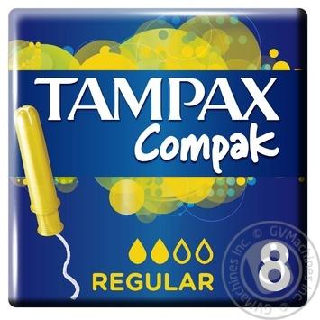 Тампоны Tampax Compak Regular с аппликатором 8 шт - купить, цены на Novus - фото 1