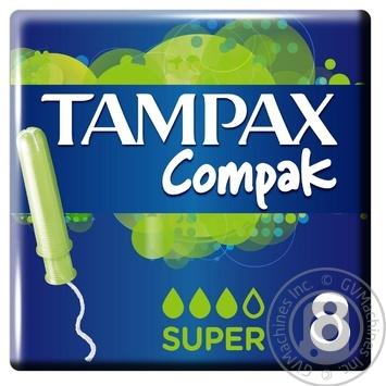 Тампоны Tampax Compak Super с апликатором 8шт - купить, цены на Ашан - фото 1