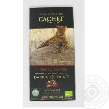 Шоколад темный Cachet органический с вишней и миндалем 57% 100г