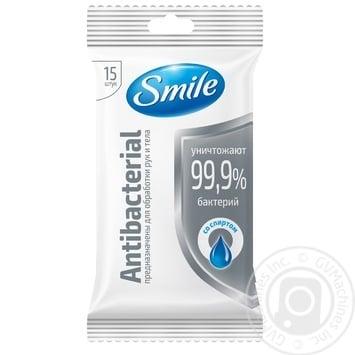 Салфетки влажные Smile Antibacterial 15шт в ассортименте - купить, цены на Ашан - фото 2