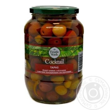 Асорті оливок з/к з овочами консервоване пастеризоване Feudo verde 840г