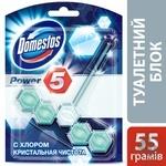 Блок для унитаза Domestos Power 5 с хлором кристальная чистота 55г - купить, цены на Ашан - фото 2