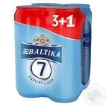 Пиво Балтика №7 Преміум світле 5.4%об. 4х500мл