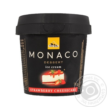 Морозиво Три Ведмеді Monaco Dessert Полуничний чізкейк у пластиковому стаканчику 70г