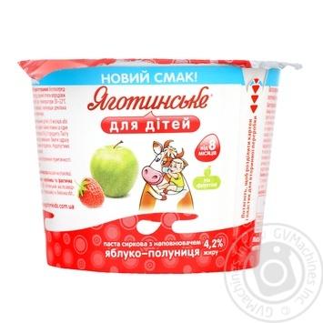 Паста сиркова Яготинське для дітей яблуко-полуниця 4,2% 100г