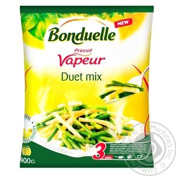 Суміш овочева Bonduelle Дует зеленої та жовтої стручкової квасолі на парі заморожена 400г - купити, ціни на МегаМаркет - фото 1