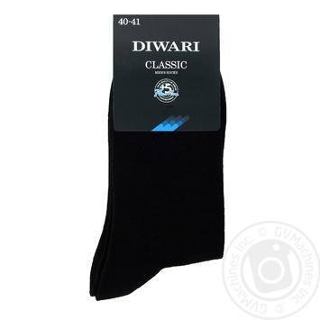 Шкарпетки чоловічі DiWaRi Classic 000 чорний р.25 пара - купити, ціни на Novus - фото 1