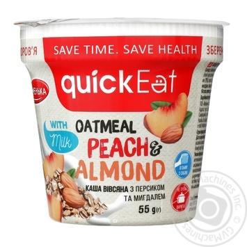 Каша овсяная QuickEat с персиком и миндалем 55г - купить, цены на Фуршет - фото 1