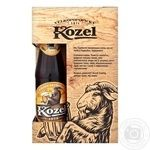 Пиво Velkopopovicky Kozel светлое + темное 4%, 3,7% 0.45л + бокал 0.5л набір