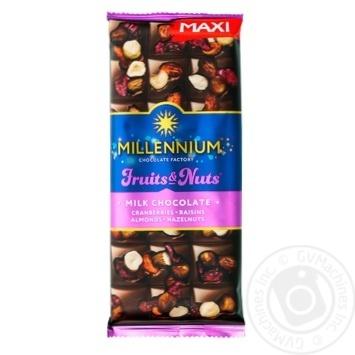 Шоколад молочный Millennium Fruits&Nuts миндаль, лесной орех, клюква и изюм 140г