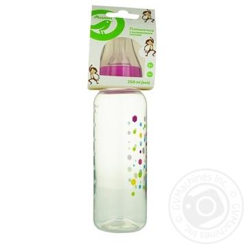 Бутылка Ашан для кормления с силиконовой соской розовая 250мл - купить, цены на Ашан - фото 1