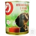 Мясной рацион Ашан с ягненком для собак 360г