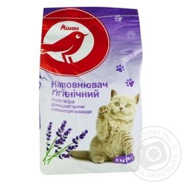 Наполнитель туалетов Ашан Лаванда для животных гигиенический 5кг - купить, цены на Ашан - фото 1