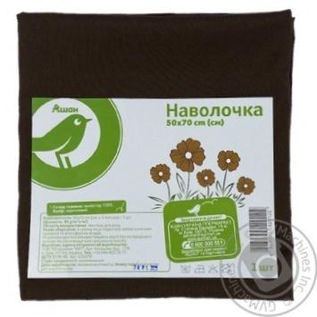 Наволочка Ашан коричневая 50х70см - купить, цены на Ашан - фото 1