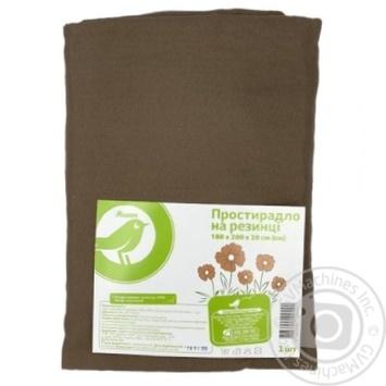 Простынь Ашан на резинке коричневая, 180х200х20см - купить, цены на Ашан - фото 1
