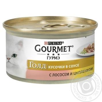 Корм GOURMET Gold С лососем и курицей в подливке для взрослых кошек 85г - купить, цены на Ашан - фото 1