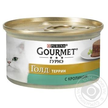 Корм GOURMET Gold С кроликом в паштете для взрослых кошек 85г - купить, цены на Ашан - фото 1