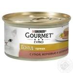 Корм GOURMET Gold С уткой морковью и шпинатом в паштете для взрослых кошек 85г