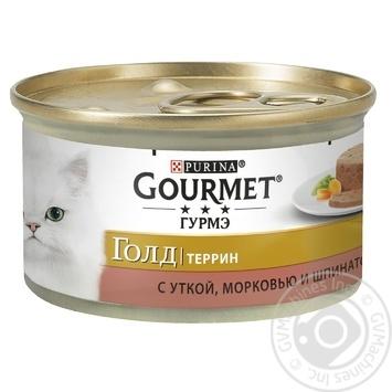 Корм GOURMET Gold С уткой морковью и шпинатом в паштете для взрослых кошек 85г - купить, цены на Таврия В - фото 1