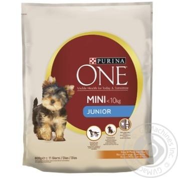 Корм сухой Purina ONE® MINI Junior с курицей и рисом для щенков мелких пород от 1 до 12 месяцев 800г - купить, цены на Novus - фото 1