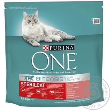 Корм сухой Purina ONE Sterilcat С лососем и пшеницей для кастрированных котов и стерилизованных кошек 1,5кг - купить, цены на Ашан - фото 1