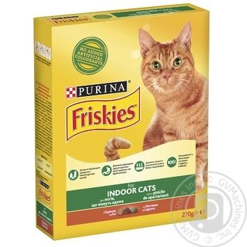 Корм сухий Friskies Indoor З куркою та садовою травою для дорослих котів 270г - купити, ціни на Novus - фото 1